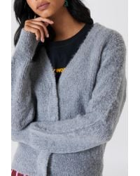 NA-KD - Gray Brushed Cardigan - Lyst
