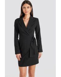 NA-KD Black Classic Side Tie Blazer Dress
