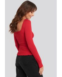 NA-KD Red Long Sleeve Smocked Top