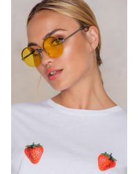 NA-KD - Yellow Round Colored Sunglasses - Lyst