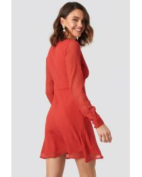 NA-KD Red Marked Waist Button Up Dress