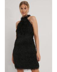 NA-KD Black Party Kleid Mit Fransendetail