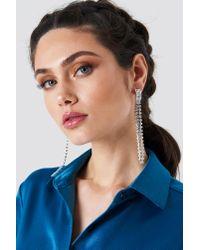 NA-KD - Metallic Strand Crystal Earrings - Lyst