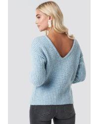 NA-KD Blue Trend Boxy V-back Knitted Sweater