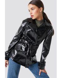 NA-KD Black Trend Belted Short PU Jacket