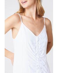 NA-KD White Boho Front Gathering Midi Dress