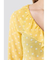 Rut&Circle Yellow Frill Wrap Blouse