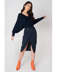 NA-KD Blue Short Batwing Sweater