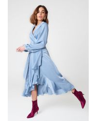 NA-KD Wrap Over Satin Frill Dress Blue