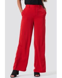 NA-KD Flared Shiny Suit Pants Red