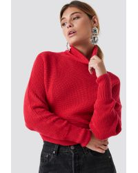 NA-KD Red Folded Knitted Sweater