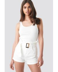 NA-KD White Belted Denim Shorts