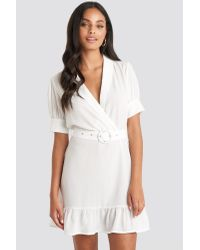 NA-KD White Belted Puff Sleeve Mini Dress
