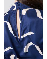 NA-KD Blue Balloon Sleeve Tied Waist Printed Dress