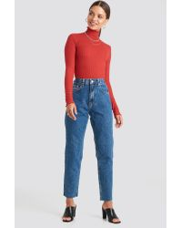 NA-KD Ribbed Polo Babylock Top in het Red