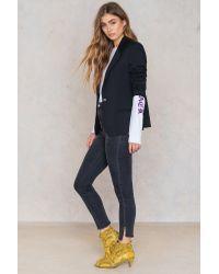 NA-KD Blue Highwaist Long Side Slit Jeans
