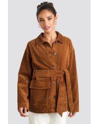 NA-KD Brown Trend Tied Waist Corduroy Jacket
