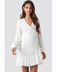 Trendyol Wrap Around Ruffle Dress in het White