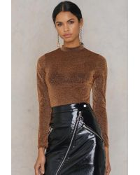 NA-KD Brown Party Glittery Turtleneck Top