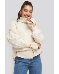 NA-KD Cable Sleeve Knitted Sweater in het White