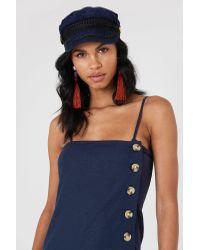 NA-KD - Blue Button Slip Linen Look Dress - Lyst