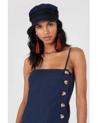 NA-KD - Button Slip Linen Look Dress Dark Blue - Lyst