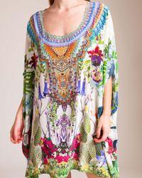 Camilla Multicolor Exotic Hypnotic Short Round Neck Kaftan