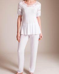 Paladini Couture White Jersey Intarsio Jakie Pajama