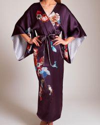 Meng Multicolor Silk Satin Fully Lined Kimono