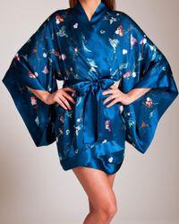Meng - Blue Silk Satin Short Kimono - Lyst