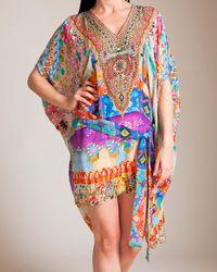 Camilla Multicolor Casa Mila Short Sheer Belted Kaftan