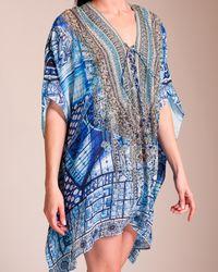 Camilla Blue Power Of Prayer Short Lace-up Kaftan