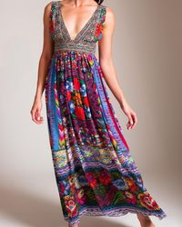 Camilla Red Tapestry Of Time V-neck Long Dress