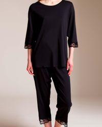Hanro Black Valencia 3⁄4 Sleeve Pajama