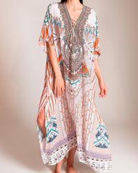 Camilla Multicolor Desert Rose Lace-up Kaftan