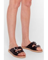 Nasty Gal Black You Know The Espadrille Faux Leather Sandals