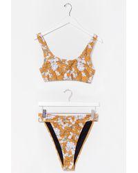 Nasty Gal Multicolor Floral Crop High Leg Bikini