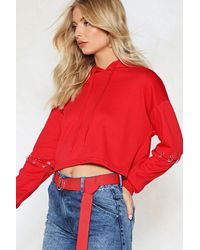 Nasty Gal - Red Ring Under Control Cropped Hoodie - Lyst