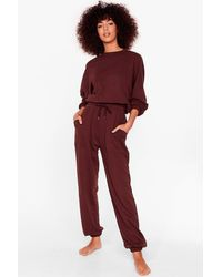 Nasty Gal Brown You Make It Look So Easy Joggers Lounge Set
