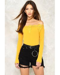 Nasty Gal Yellow Take The Edge Off-the-shoulder Top