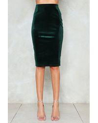 Nasty Gal - Green Feel For You Velvet Midi Skirt - Lyst