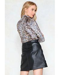 Nasty Gal Brown Runnin' Wild Leopard Top