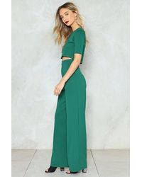 Nasty Gal - Green Settle The Score Crop Top And Pants Set - Lyst
