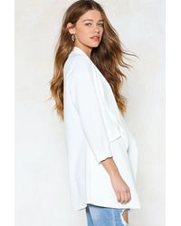 Nasty Gal - White Long And Silent Type Waterfall Blazer - Lyst