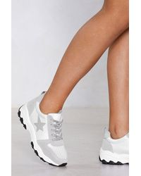 """Nasty Gal Gray """"star Is Rising Chunky Sneaker"""""""