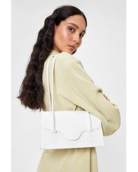 Nasty Gal White Want Faux Leather Croc Shoulder Bag