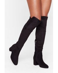 Nasty Gal Black Block Party Faux Suede Over-the-knee Boots