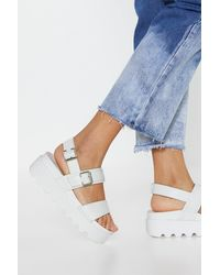 "Nasty Gal White ""work Your Way Up Faux Leather Platform Sandals"""
