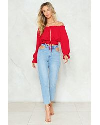Nasty Gal Red Get The Hole Picture Off-the-shoulder Top Get The Hole Picture Off-the-shoulder Top