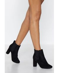 32f62cb9e29 Nasty Gal Faux Suede With Me Heeled Boot in Black - Lyst
